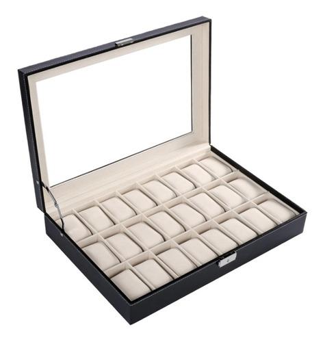 caixa para 24 relogios grande estojo madeira couro com visor