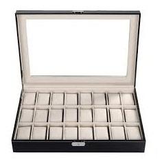 caixa para 24 relogiosorganizador em madeira couro com visor