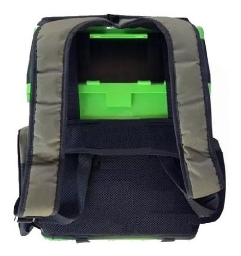 caixa pesca mochila banqueta fishing box jogá verde e azul