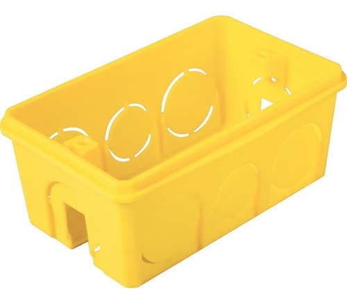 caixa plastica 4x2 luz amarela kit com 100