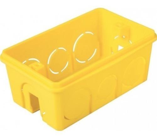 caixa plástica 4x2 luz amarela mondiale pacote com 50 unid.