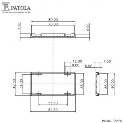 caixa plastica patola pb080 preta  a.29 x l.42 x cp.82  .