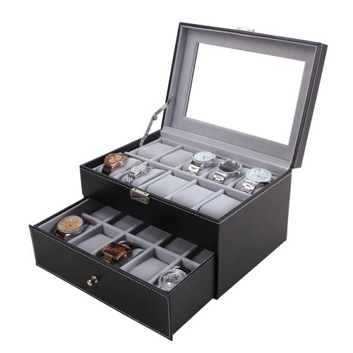 caixa porta 20 relogios dupla com gaveta com visor luxo cour