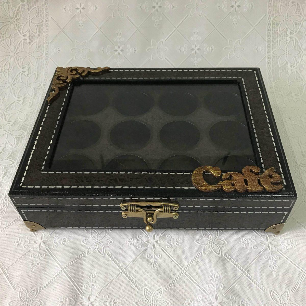 90ea117a62c caixa porta cápsulas café para 12 tampa vidro mdf decorada. Carregando zoom.
