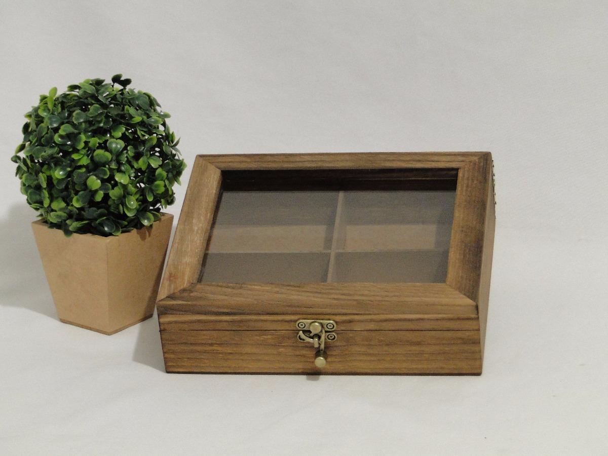 73575f1237b caixa porta chá madeira rústica com vidro e fecho ouro velho. Carregando  zoom.