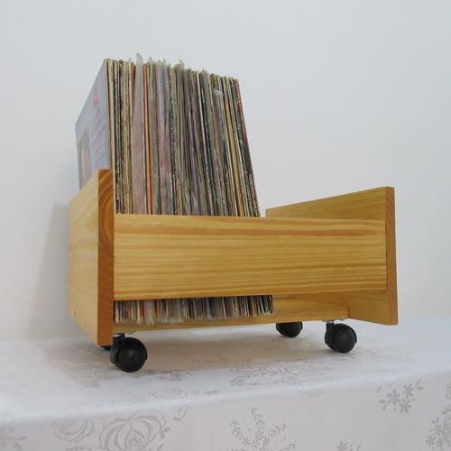 caixa porta discos vinil lp suporte organizador com rodinhas