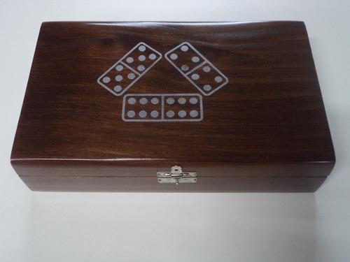 caixa porta dominó envelhecido, com dominó incluso