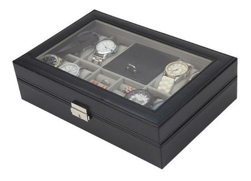 caixa porta joias e relogio pulseiras brincos com chave luxo