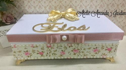 caixa porta laços mdf decorado para meninas