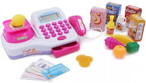caixa registradora + carrinho de compras rosa toys toys