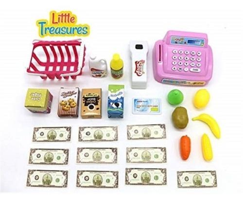 caixa registradora infantil acompanha cesta de produtos rosa