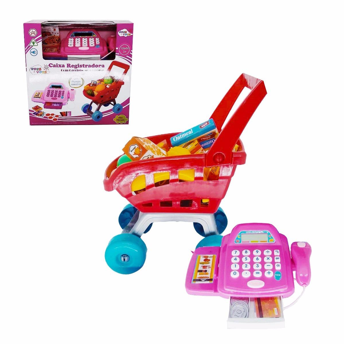 cffc7ff6fe caixa registradora infantil rosa com 30 acessórios carrinho. Carregando  zoom.