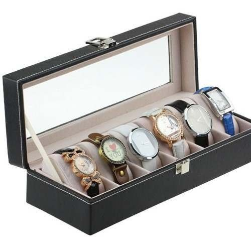2b2d1b75970 Caixa Relogio Porta 6 Relógios Couro E Vidro. Frete Grátis!! - R  120