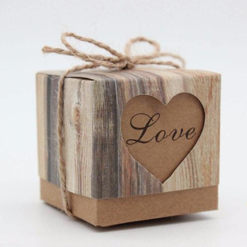 caixa rústica lembrancinha casamento aniversário kraft+sisal