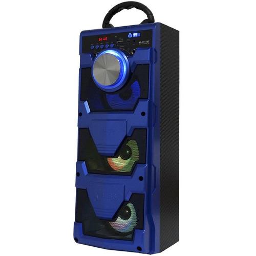 caixa som amplificada 18w mic bluetooth usb fm bateria e12
