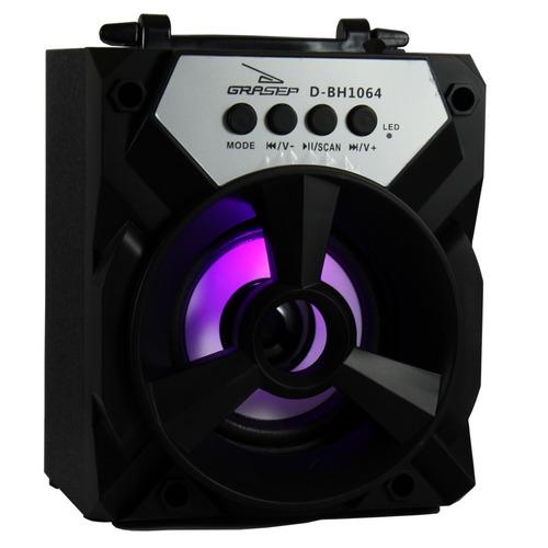 caixa som amplificada portatil 6w rms bluetooth fm sd usb