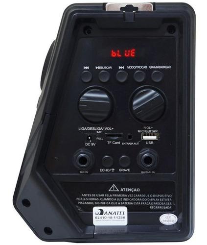 caixa som bluetooth amplificada 80w mp3 usb fm aux bateria