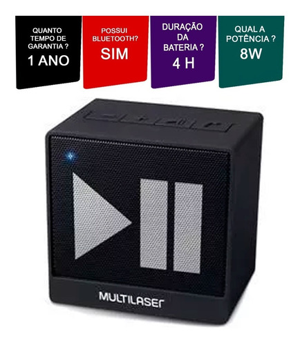 caixa som bluetooth multilaser sp277 portátil 8w rms 3 ohms.