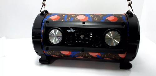 caixa som bluetooth portátil pen drive usb d-p2 canhão alça