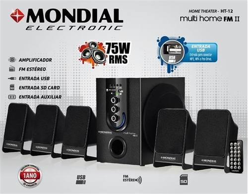 caixa som mp3 pc notebook subwoofer amplificador 5.1 canais