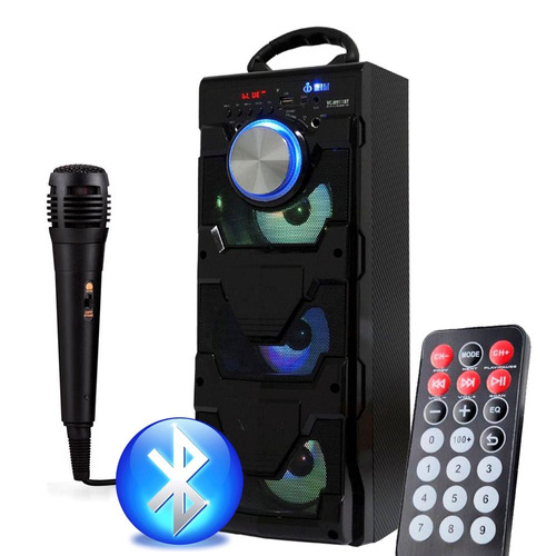 caixa som portátil bluetooth mp3 usb microfone potente e12