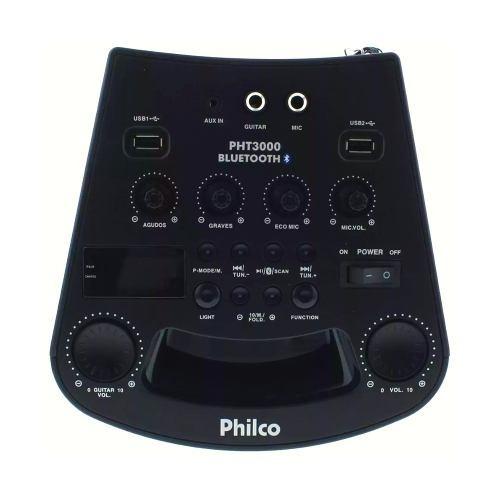 caixa som portátil bluetooth recarreg philco 100w