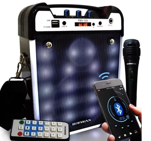 caixa som portátil s fio 25w bluetooth sd usb c/ mic karaoke