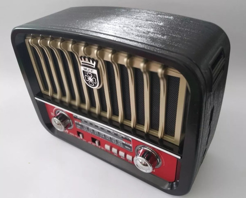 caixa som retro radio am fm usb sd - cor dourado