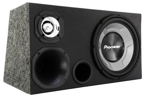 caixa som trio 12 dutada subwoofer pioneer 350w rms completa