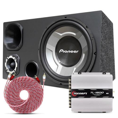 caixa som trio 12 subwoofer pioneer + módulo taramps tl 1500