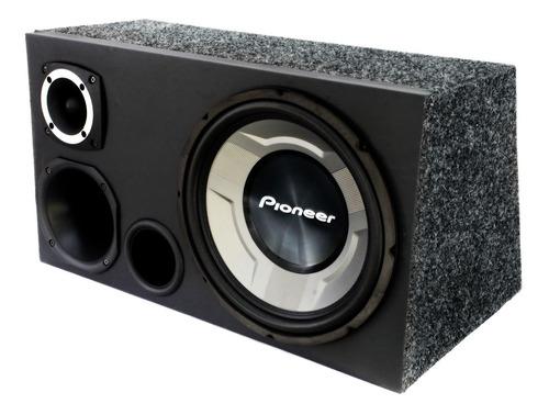 caixa som trio pioneer 12 completa + modulo taramps tl 1500