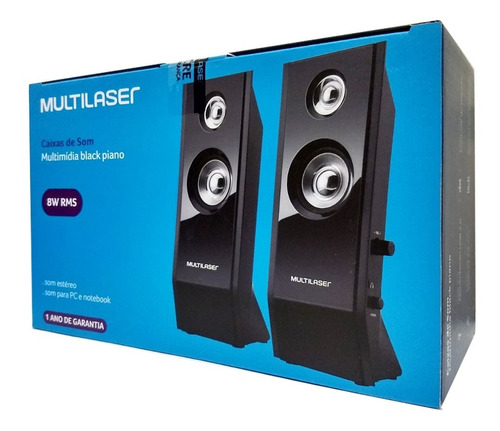 caixa subwoofer som 2.0 p2 sp091 pc note 8w rms multilaser