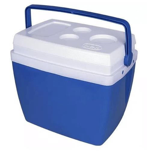 caixa térmica 26 litros azul com alça mor praia camping