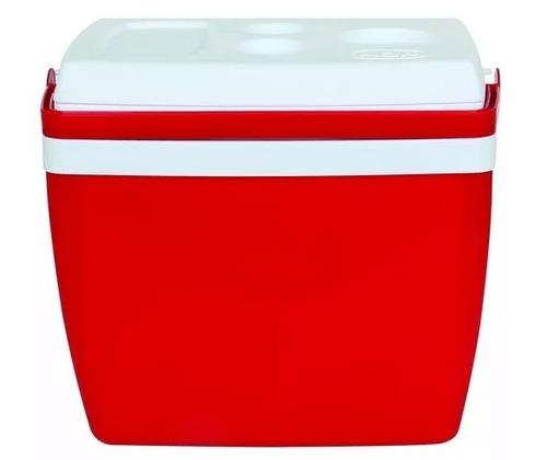 caixa térmica 26 litros c/ alça mor praia camping vermelha
