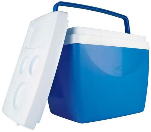 caixa térmica 34 litros c/ alça e porta copos cooler azul