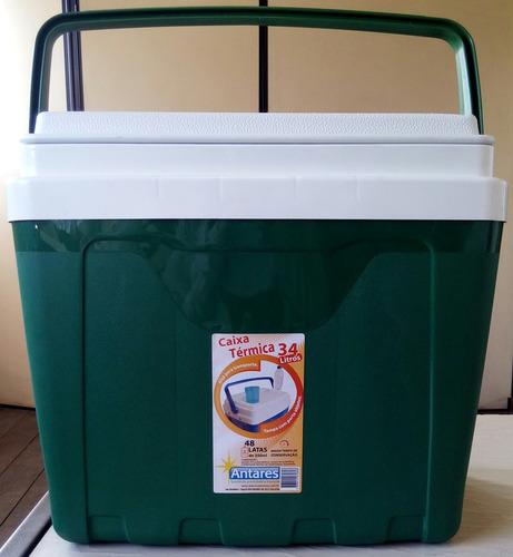 caixa térmica 34 litros com alça e porta copos cooler verde