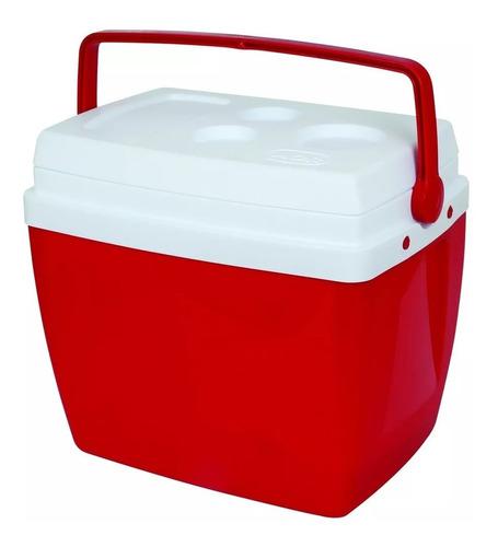 caixa térmica 34 litros vermelha com alça mor