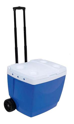 caixa térmica 42 litros azul com rodinha mor