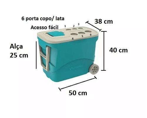 caixa térmica 50 litros com rodinhas e 2 alças soprano