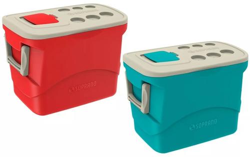 caixa térmica 50l soprano com sobretampa azul ou vermelho