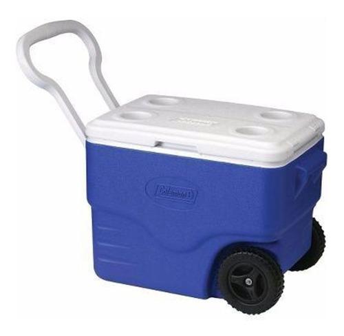 caixa térmica 60qt 56,7l azul com rodas signature