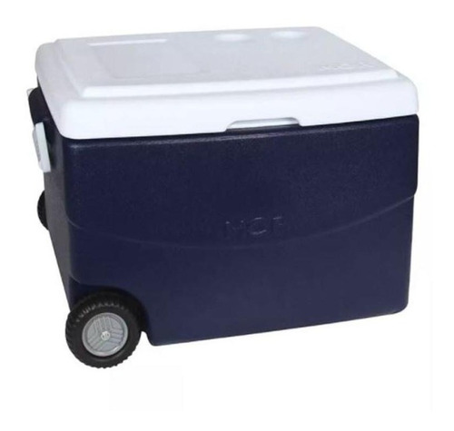 caixa térmica 70 litros glacial azul com rodas mor