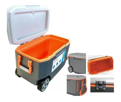 caixa térmica coleman 58 litros xtreme 62qt cinza c/ rodas
