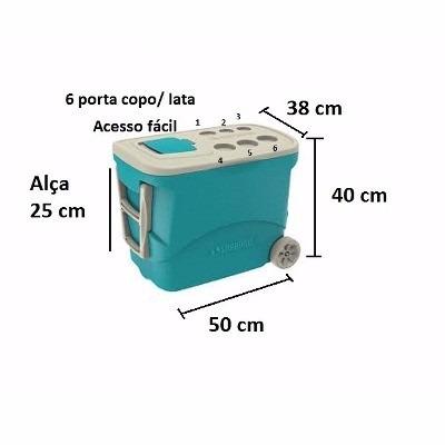 4fbf0a929 Caixa Térmica Com Rodas 50 Litros Soprano (142) - R  273