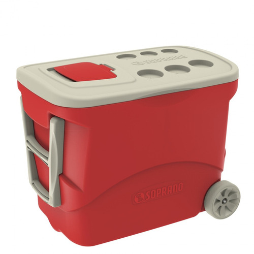 caixa térmica com rodas 50l tropical soprano vermelho a