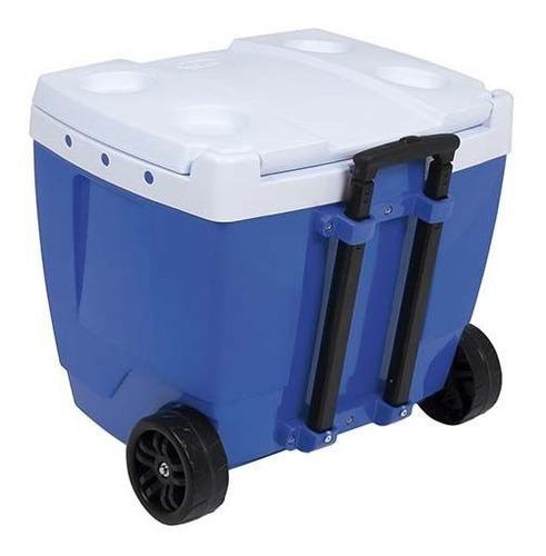 caixa térmica com rodinha azul 42 litros - mor