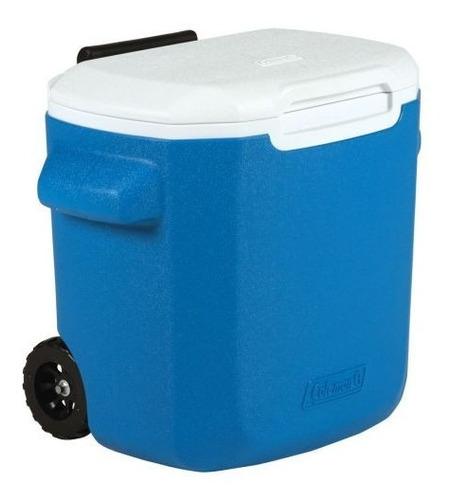 caixa térmica com rodinhas 16qt 15 litros azul - coleman