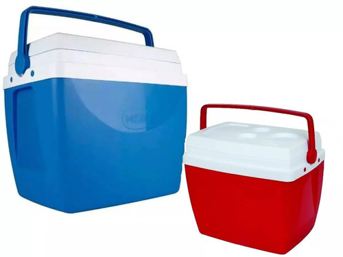 caixa termica cooler 34 l azul/vermelha