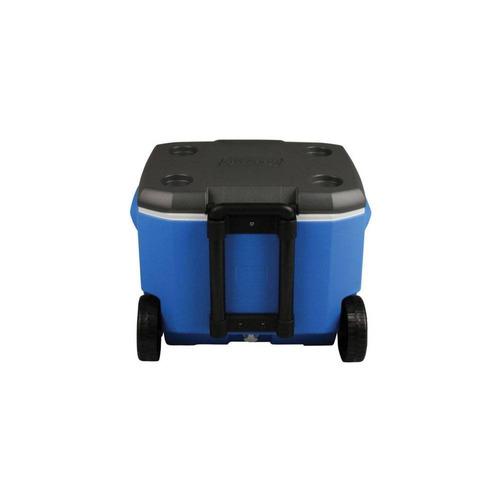 caixa térmica cooler 56,8 l tampa assento alça rodas-coleman