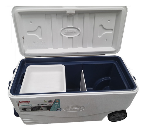 caixa térmica cooler coleman 77l com rodas e alças camping